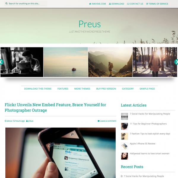 Preus WordPress Theme Responsive Parallax Header